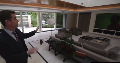 This area used to be an indoor pool. Jordan renovated it after he moved in and added sliding walls to both sides that can make the gathering room either indoor or outdoor depending on the mood and the weather.