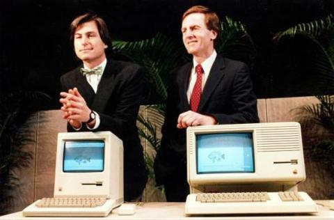 Jobs and Sculley at the launch of the Macintosh.