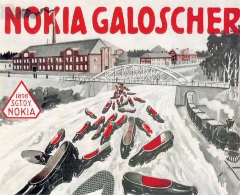 Un cartel promocional de los zapatos de goma de Nokia en el año 1905.
