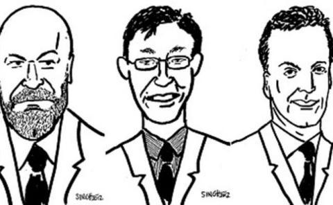 Dibujos de Cliff Asnes, John Liew y David Kabiller, fundadores de AQR Capital.