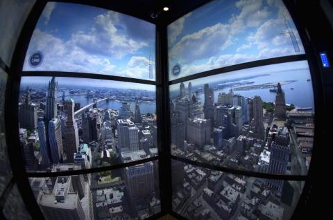 In the elevator going up to the observation deck, there's a timelapse projection that shows what Manhattan has looked like every year since 1500.