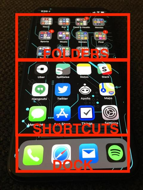 I break my home screen into three sections: The Dock, Shortcuts, and Folders.