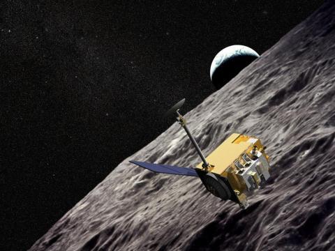 An illustration of NASA's Lunar Reconnaissance Orbiter flying around the moon.