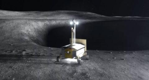 An illustration of NASA's now-cancelled Resource Prospector rover mission to the moon.