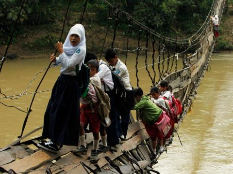 In Indonesia's Banten province, students are sometimes forced to cross bridges even after they've collapsed.