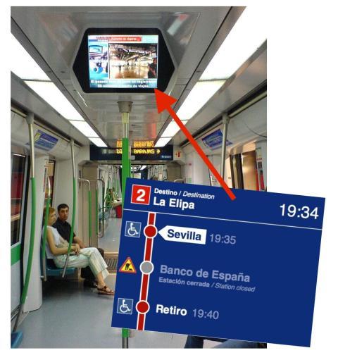 Información dentro del Metro