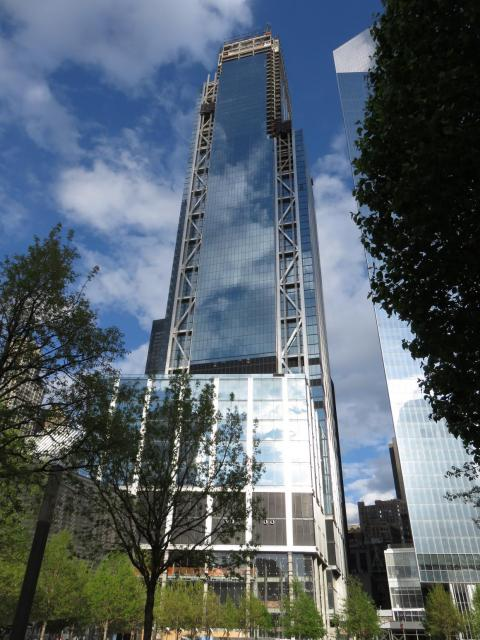 In Manhattan's Financial District, 3 World Trade Center opened in June 2018. The $2.75 billion, 80-floor tower features a striking steel facade.