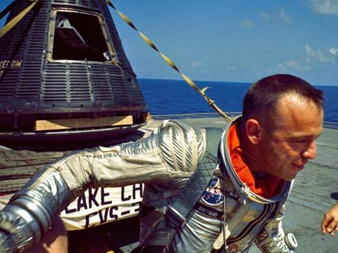 Astronaut Alan Shepard after his Mercury capsule was recovered.