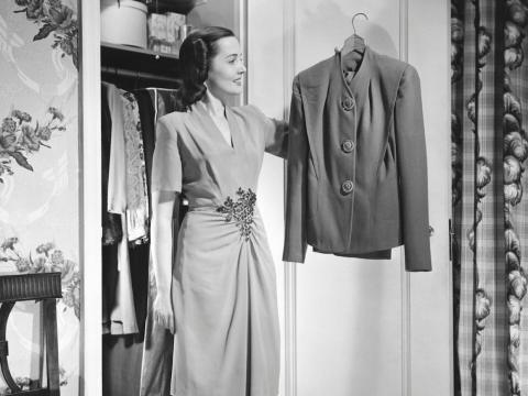 "Meanwhile, the Youngs wrote that career women typically wore ""tailored wool suits over silk blouses."" Dresses were also an option for the office. The standard look was completed with hosiery or stockings, as well as shoes with"