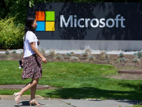 A Microsoft employee at the company's headquarters.