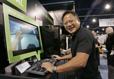 Nvidia CEO and president Jen-Hsun Huang plays with a game using Nvidia's Physx technology for gaming, at the International Consumer Electronics Show in Las Vegas, Thursday, Jan. 8, 2009.