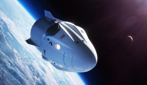 An illustration of SpaceX's Crew Dragon spaceship, also known as Dragon 2 or Dragon V2, orbiting Earth.