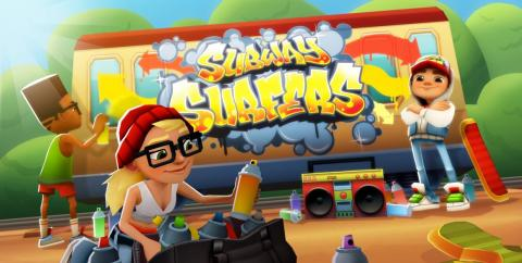 """Subway Surfers"" is a fast-paced running game about adorable urban vandals. Mobile gamers played this one for 2.43 billion hours over the period in question."