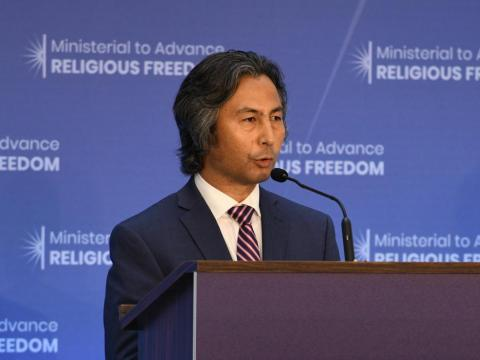 Tahir Hamut, a Uighur Muslim poet and filmmaker from China, delivers remarks at the Ministerial to Advance Religious Freedom at the U.S. Department of State in Washington, D.C. on July 24, 2018.