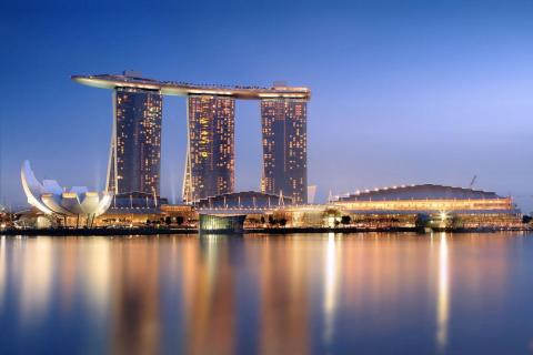 Three towers make up the Marina Bay Sands Resort, which opened in 2010 in Singapore.