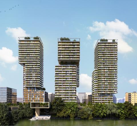 Torres residenciales de 100 metros de altitud que Strabag está construyendo en el centro de Viena, Austria.