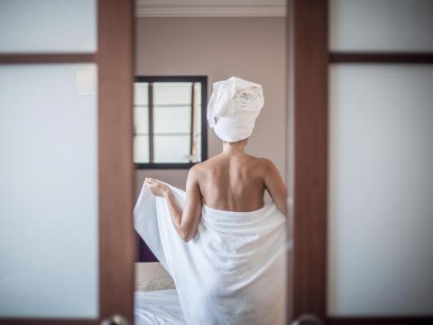 Towels often don't get fully dry before we use them again, making them a perfect place for moisture-loving bacteria to grow. Wash them once every three uses.