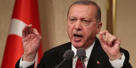 El presidente turco Tayyip Erdogan en una ceremonia que marca el segundo aniversario del intento de golpe de Estado en Ankara, Turquía, el 15 de julio de 2018.