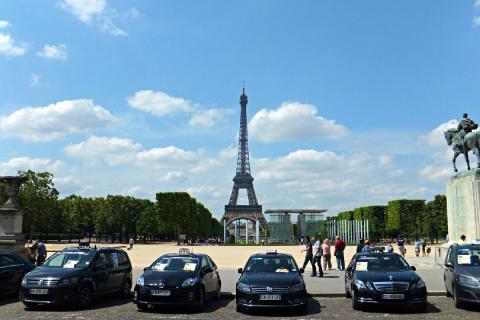 Protesta de los taxistas de París contra Uber.