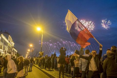 The White Nights peak with the Scarlet Sails festival. It's the biggest night of the year in St. Petersburg. Everyone comes out to the banks of the Neva River to watch a grand display of fireworks, a water show, music, and the