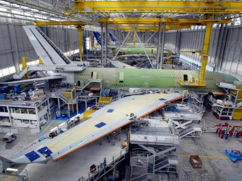 The A380 is built in a 1.6-million-square-foot assembly plant at Airbus headquarters in Toulouse.