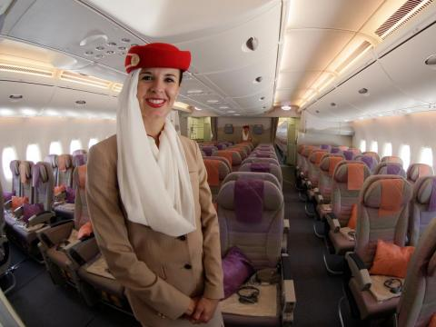 According to Airbus, in a typical four-class seating arrangement, the superjumbo can carry as many as 544 passengers, with a range of more than 9,400 miles. In a high-density configuration, the A380 is certified to carry as many