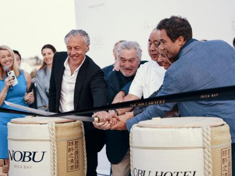 Actor Robert De Niro, Hollywood producer Meir Teper, and celebrity chef Nobuyuki Matsuhisa, co-founders of Nobu Hospitality, inaugurate the new Nobu Hotel Ibiza Bay this past May.