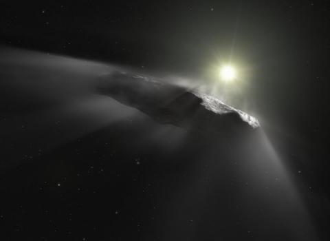 Representación artística del objeto interestelar de 'Oumuamua.