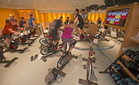 Back inside on Deck 12, the SkyFitness Spa is a place where travelers can get a workout in.