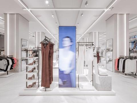 Screens in a Zara store in Bilbao, Spain.
