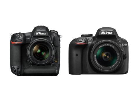 Una Nikon full-frame Nikon a la izquierda comparadas con una Nikon de sensor de recorte,a la derecha.