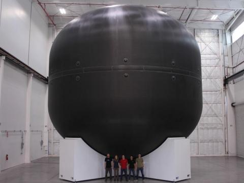 A carbon-fiber tank 40 feet in diameter that SpaceX made in 2016.