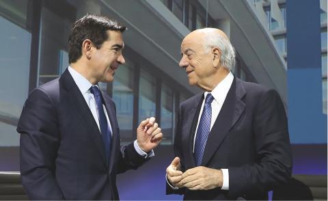 Carlos Torres, consejero delegado de BBVA, y Francisco González, presidente de BBVA.