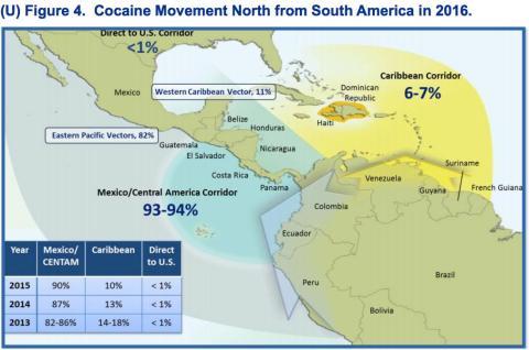 El flujo de cocaína a Norteamérica desde Sudamérica