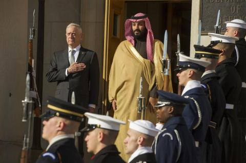 Defense Secretary James Mattis welcoming Prince Mohammed to the Pentagon on March 22.