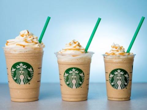 Los distintos tamaños de Frappucinos que ofrece Starbucks