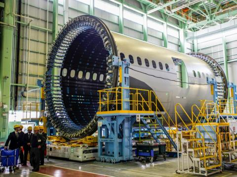 A forward fuselage of a Boeing 787 Dreamliner.