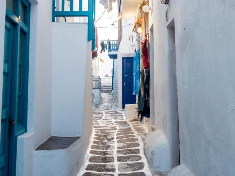 The Hora, with its classic Cycladic architecture, cobblestone streets, and blue and white paint, is the other main sight in Mykonos. The residential streets are dreamy.