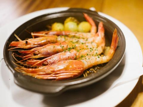 """If you really want to go all out, Ibiza has its own edition of Nobu. I had the Gambas al Ajillo """"Nobu Style,"""" a classic Spanish dish ($50) which used shrimp from nearby Formentera. It was a simple, garlicky dish that shined with"""