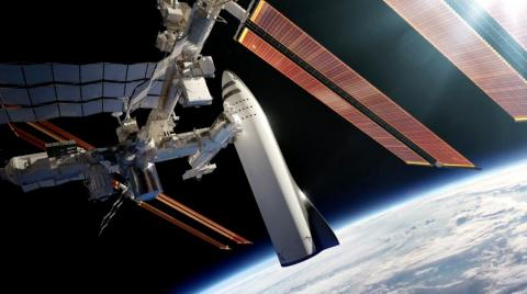 An illustration of a BFR spaceship docked at the International Space Station.