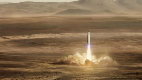 An illustration of SpaceX's BFR spaceship landing on Mars.