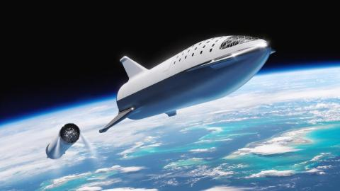 A September illustration of SpaceX's Big Falcon Rocket system, or BFR, launching into space. Here, the spaceship is detaching from the booster.