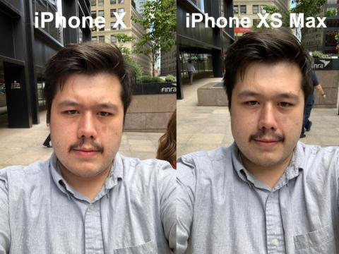 The iPhone XS changed Kif's face color, and his skin was also a little smoother in the iPhone XS' selfie.