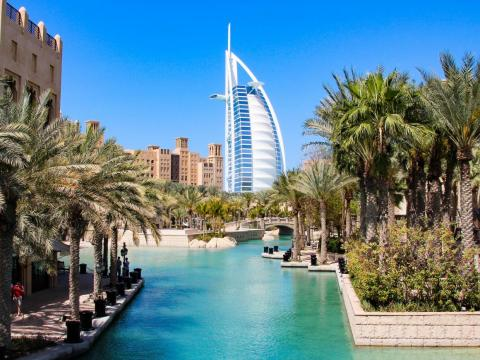 """It boasts of having the """"most luxurious hotel in the world,"""" the Burj Al Arab Jumeirah, which costs a minimum of about $3,500 a night and whose restaurant has a floor-to-ceiling aquarium."""
