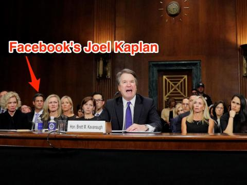 Joel Kaplan watches Brett Kavanaugh's hearing.