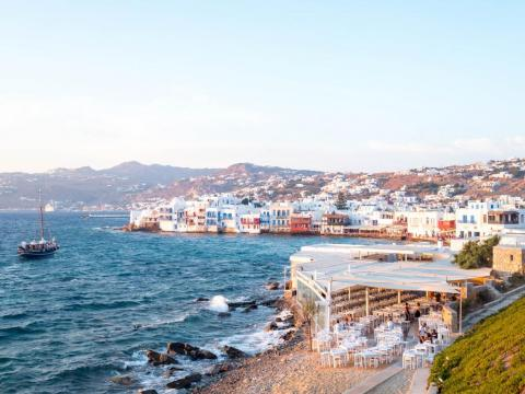 Measuring just 33 square miles in size, Mykonos is a sunny and cool Greek island stuffed with hip boutique hotels, thumping beach clubs, haute couture shops, white sandy beaches, whitewashed alleyways, and swanky restaurants.