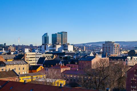 El centro de Oslo (Noruega), visto desde el Palacio Real
