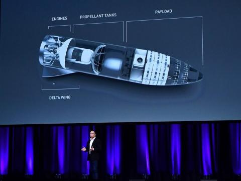 Musk speaks at the International Astronautical Congress last September in Adelaide, Australia.
