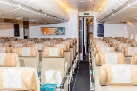 These days, wide-body economy cabins remain big and roomy like on this Etihad Airbus A380.