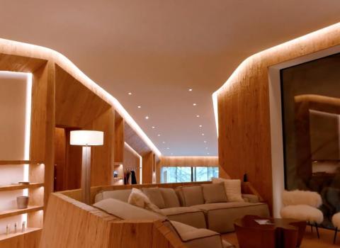Los propietarios también pueden relajarse en un salón...